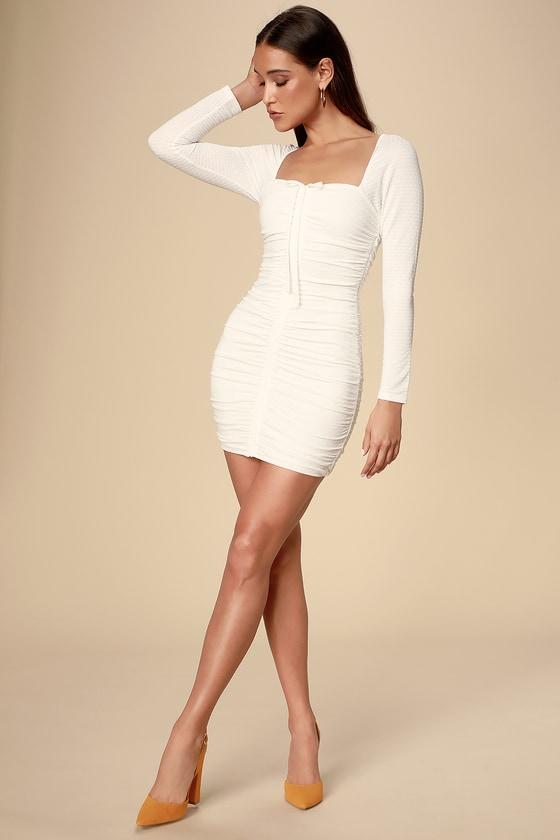 8654ff5d7973 Ali & Jay Snapdragon Dress - Ruched Dress - Long Sleeve Dress