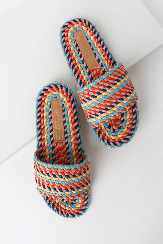 Vintage Sandal History: Retro 1920s to 1970s Sandals Sunny Rainbow Multi Rope Slide Sandal Heels - Lulus $47.00 AT vintagedancer.com