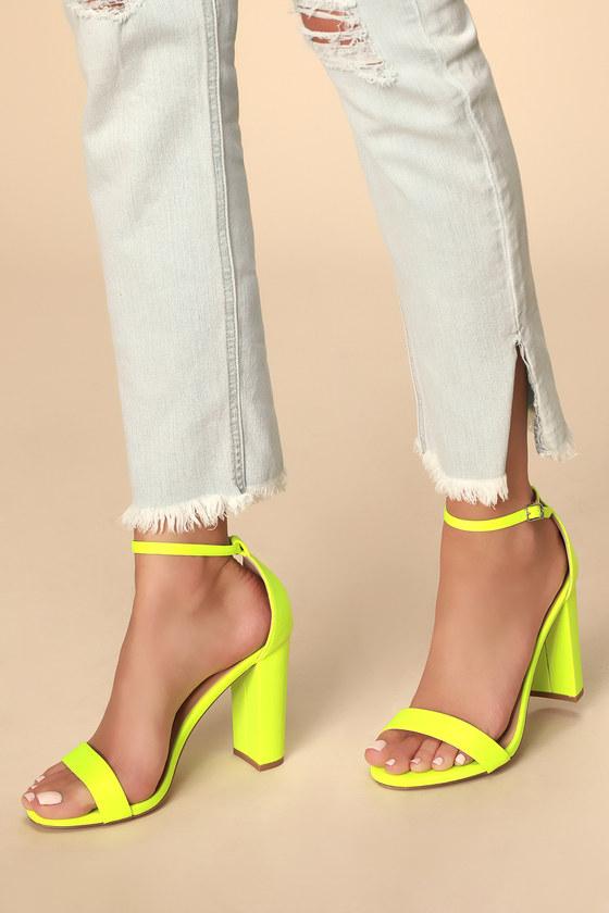Fun Neon Yellow Heels - Lycra Heels