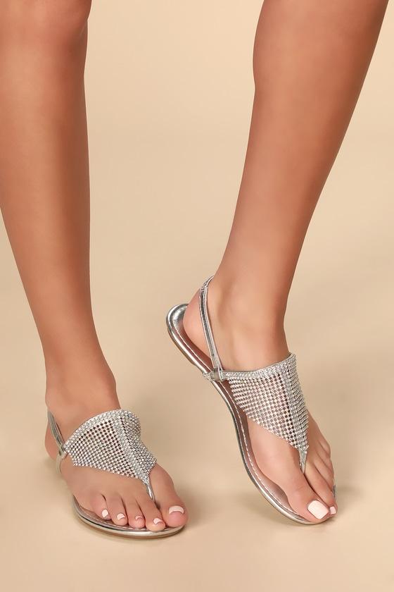 Clarissa Silver Rhinestone Flat Sandals!
