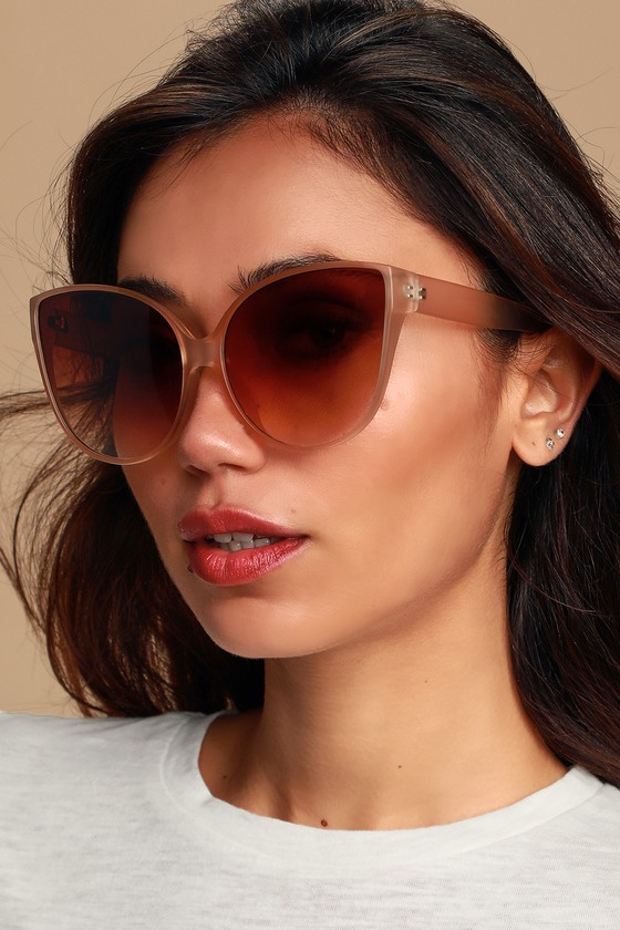 Sunglasses Beige Gwenyth Oversized Cat Matte Eye QhdsrtC