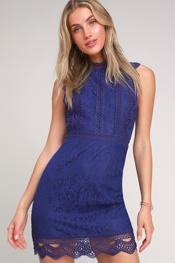 My Sweetheart Royal Blue Lace Mini Dress by Lulus