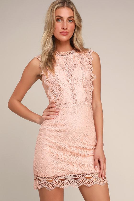 00d872303b49 Cute Blush Pink Dress - Lace Dress - Sheath Dress - Mini Dress