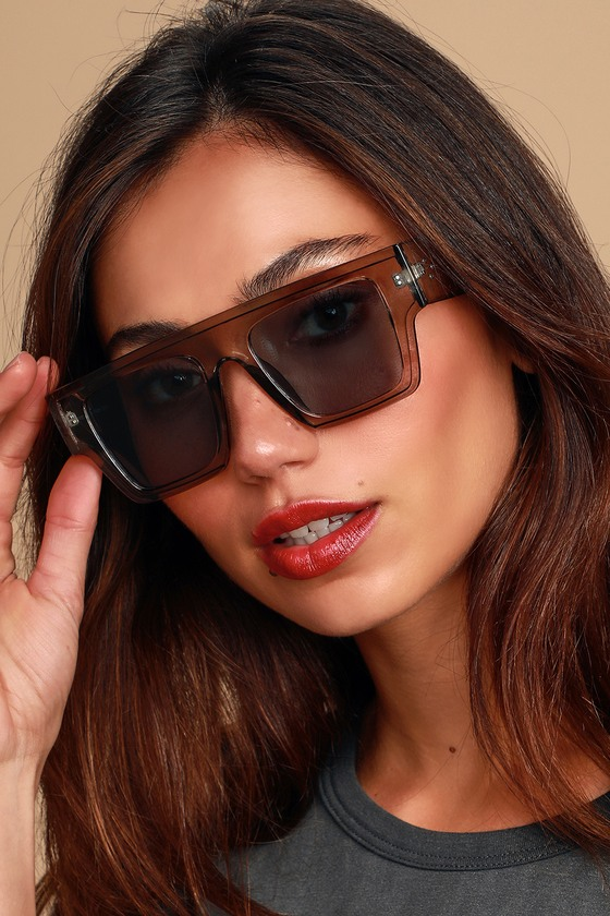 Feels Right Clear Grey Oversized Shield Sunglasses by Lulus