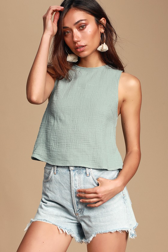 3cb9e8a2ad14ce Cute Sage Green Top - Cotton Tank Top - Backless Crop Top