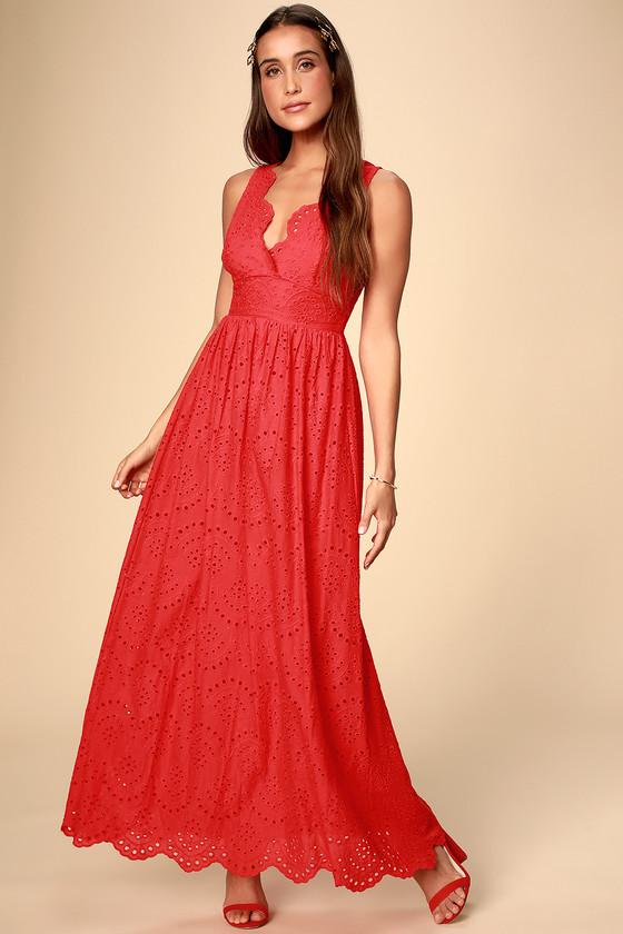 bd05c19b621e Cute Eyelet Maxi Dress - Red Maxi Dress - Red Eyelet Dress