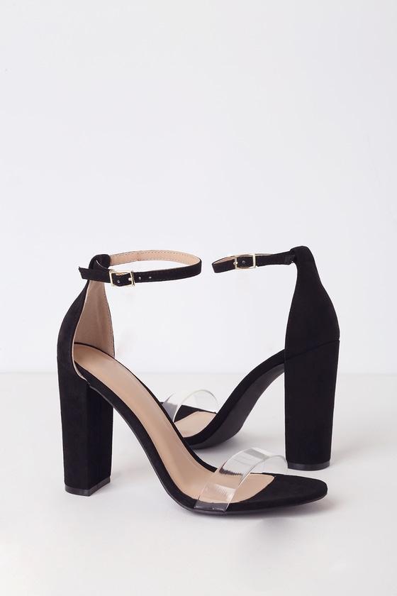 315e4be31ad68 Cute Black Heels - Black Vegan Suede Heels - Ankle Strap Heels