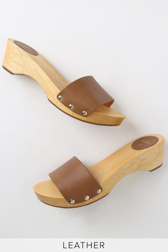 Wyatt Cognac Vachetta Leather Wooden Slide Sandals by Lulus
