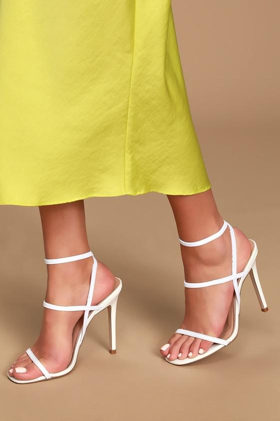 f879a441d7e4 Steve Madden Nectur - White High Heel Sandals - Vegan heels