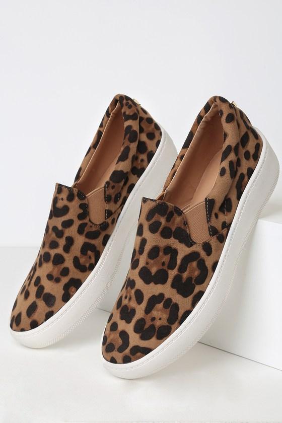Leopard Suede Sneakers - Slip-On