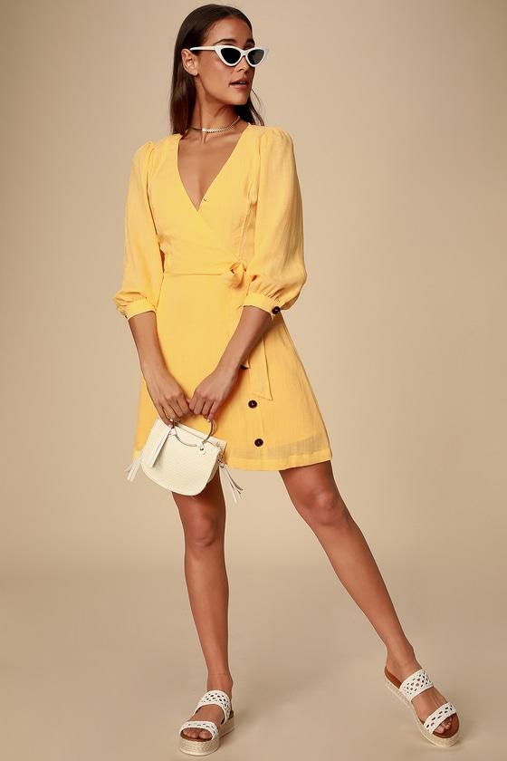 5aaca0e3b Cute Golden Yellow Dress - Balloon Sleeve Dress -Wrapping Dress