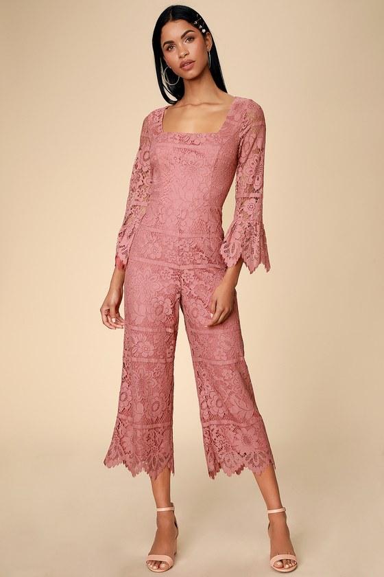 Amoureux Dusty Rose Lace Flounce Sleeve Culotte Jumpsuit