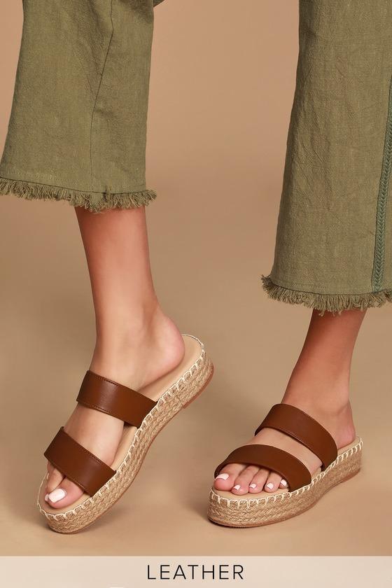Vintage Sandal History: Retro 1920s to 1970s Sandals Sayler Cognac Leather Flatform Espadrille Slides - Lulus $31.00 AT vintagedancer.com