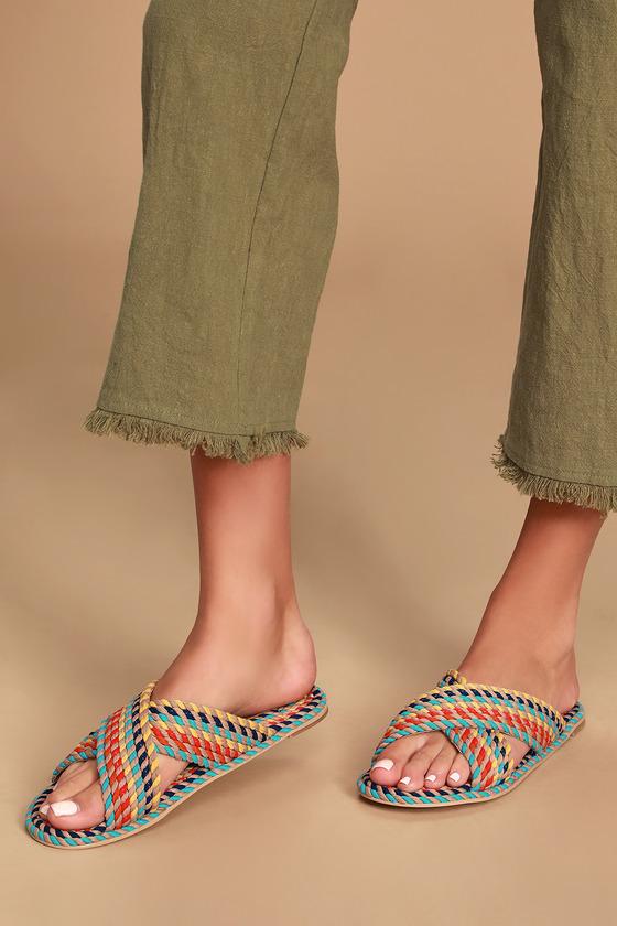 Vintage Sandal History: Retro 1920s to 1970s Sandals Saraya Multi Rainbow Woven Slide Sandal Heels - Lulus $78.00 AT vintagedancer.com