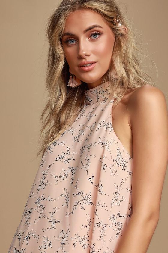 8e561512da4a Cute Blush Pink Floral Print Dress - Sleeveless Swing Dress