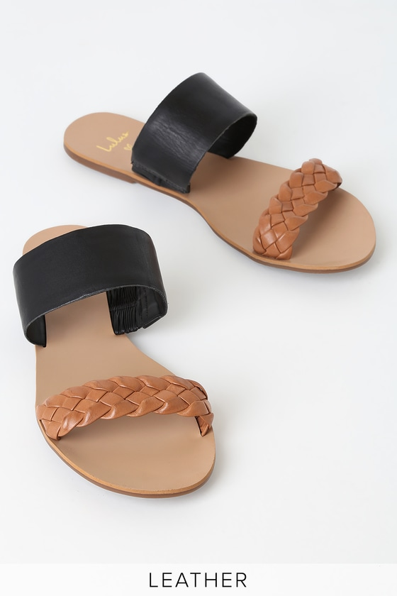 9967a61b2ac Caylee Cognac and Black Nappa Leather Slide Sandals