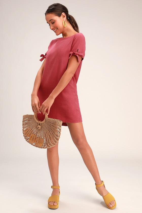 0b2c404ab78d13 Cute Terra Cotta Dress - Shift Dress - Button Back Dress