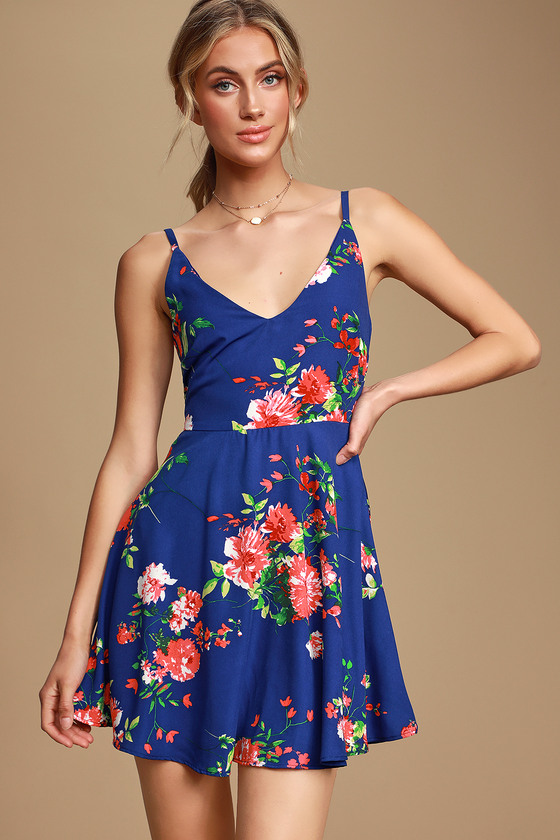 Bridge to Love Cobalt Blue Floral Print Skater Dress