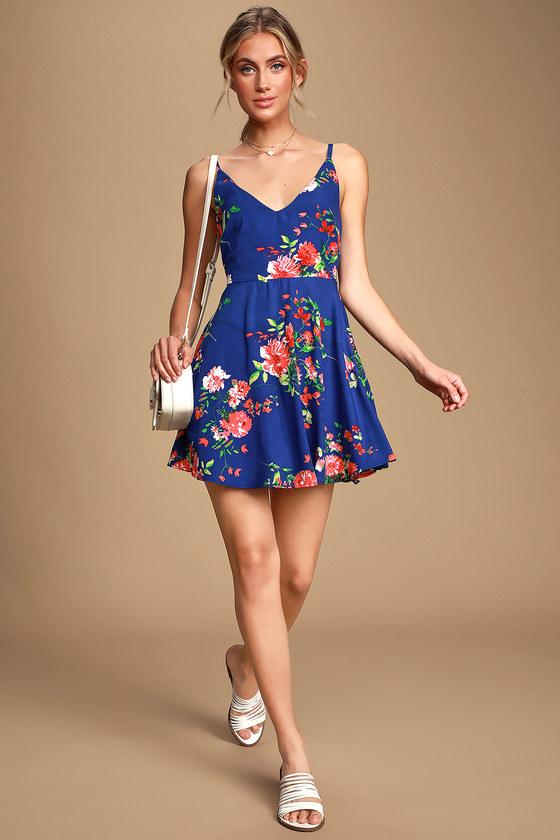 b31d3f4e9f4ad Pretty Blue Floral Print Dress - Skater Dress - Blue Short Dress