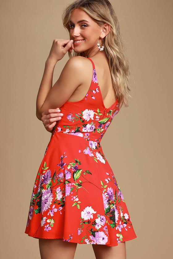 35886fe185a1 Pretty Red Floral Print Dress - Skater Dress - Short Floral Dress