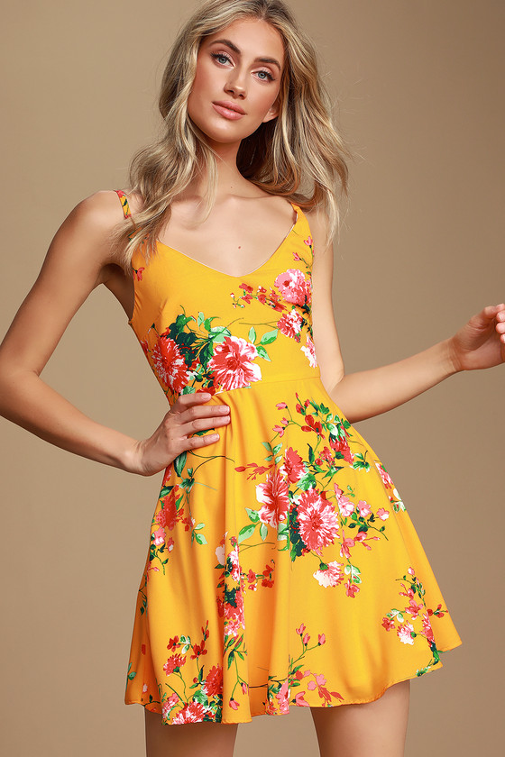 Bridge to Love Golden Yellow Floral Print Skater Dress