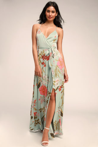 58af5e548 Still the One Sage Green Floral Print Satin Maxi Dress