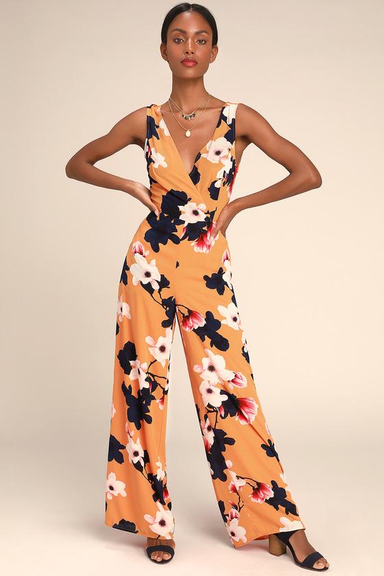 Heart Abloom Orange Floral Print Tie Back Wide Leg Jumpsuit by Lulus