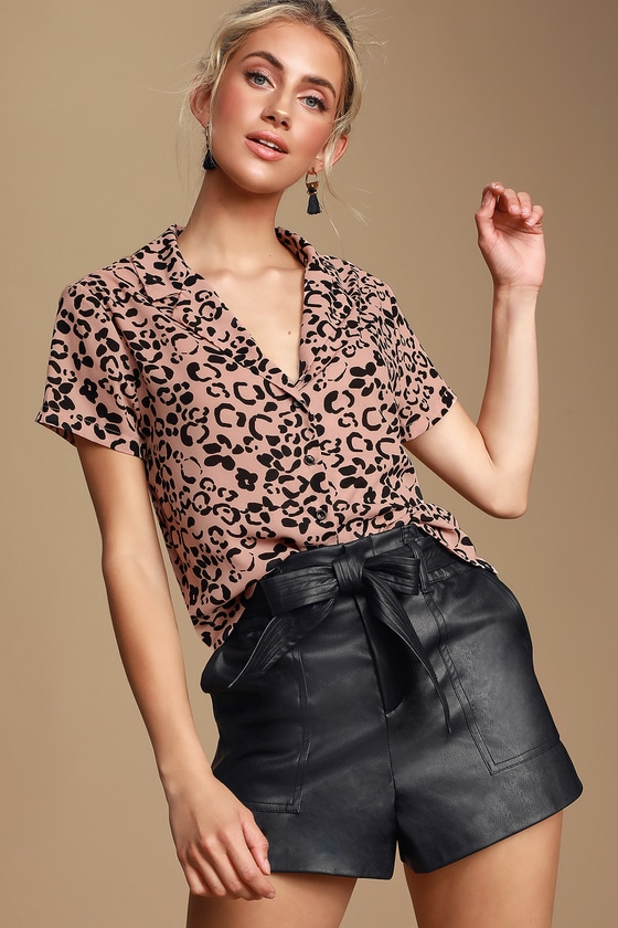 Edie Blush Pink Cheetah Print Button Up Top by Lulus