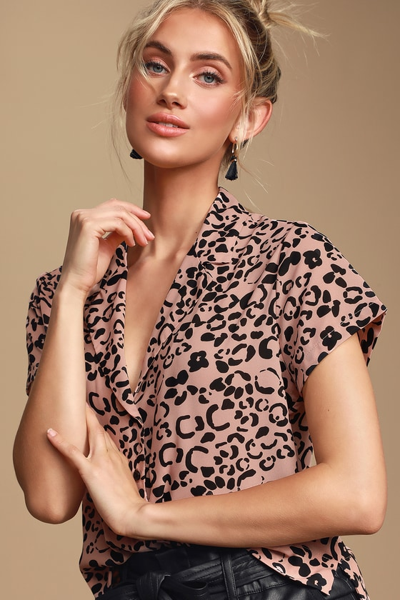 Edie Blush Pink Cheetah Print Button-Up Top - Animal Print Fashion