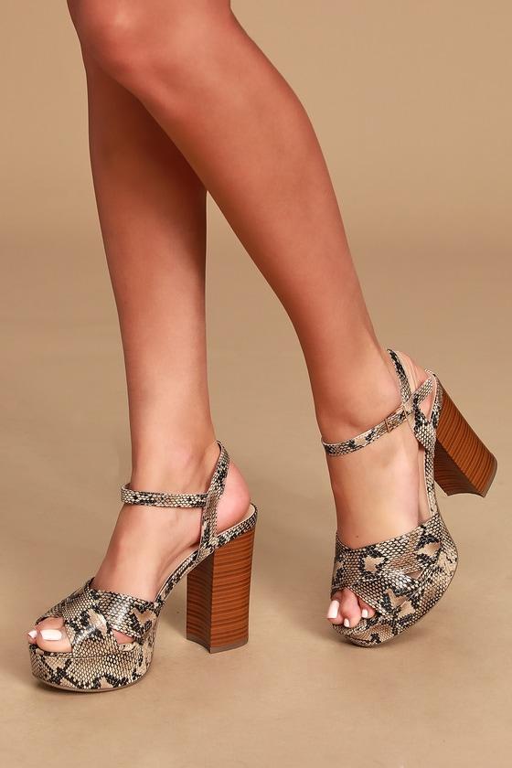 8337c04be6 Sleek Natural Python Heels - Platform Heels - Vegan Leather Heels