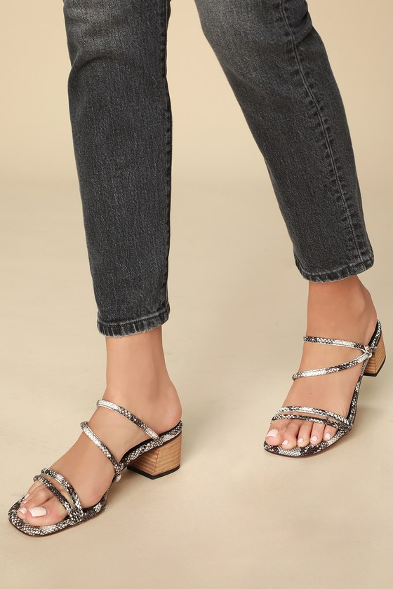 7654abbfb663d Chic Snake Print Slides - Mid-Low Heels - Square Toe Sandals