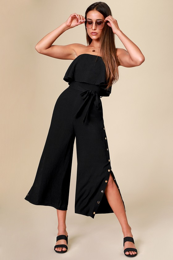 Lanah Black Strapless Jumpsuit