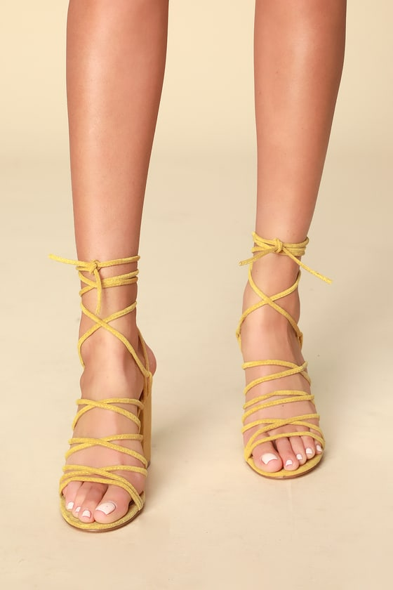 9eea1d32515 Hollie Yellow Suede Strappy Lace-Up Heels