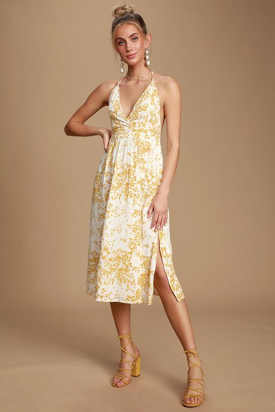 439b7c25564e O'Neill Andre Dress - Yellow Floral Print Dress - Midi Dress