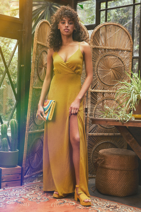 d6efb931c9f9fd Glam Mustard Yellow Dress - Maxi Dress - Side Slit Maxi Dress