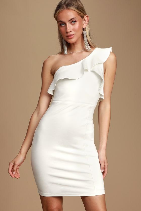 baeacb6b5 Chic White Dress - One-Shoulder Dress - Bodycon Dress