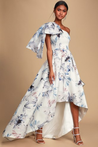cadf61fa2 Josephine White Floral Print One-Shoulder High-Low Dress