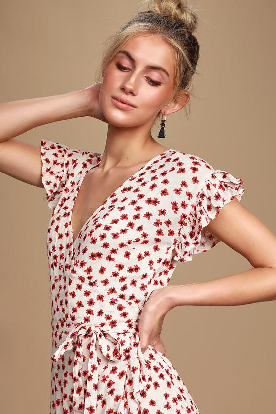 fdcc6d465651c4 Billabong Wrap and Roll Dress - Floral Mini Dress - Ruffled Hem