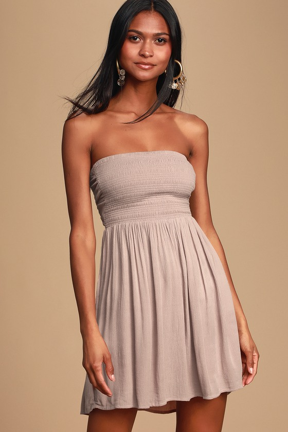 ae48fd276a72 O'Neill Lawrence - Taupe Strapless Dress - Convertible Dress