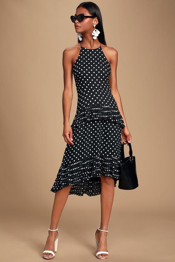 853be0a2a4a Envy Black and White Polka Dot Ruffled Midi Dress