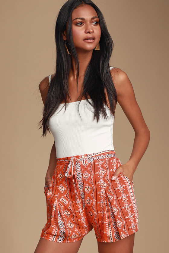 Alvia Red Orange Multi Print Self-Tie Shorts - Spring Summer Outfits