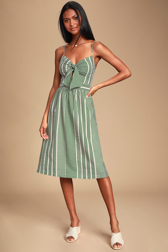 World Wonder Green Striped Tie-Front Midi Dress - Trendy Long Boho Chic