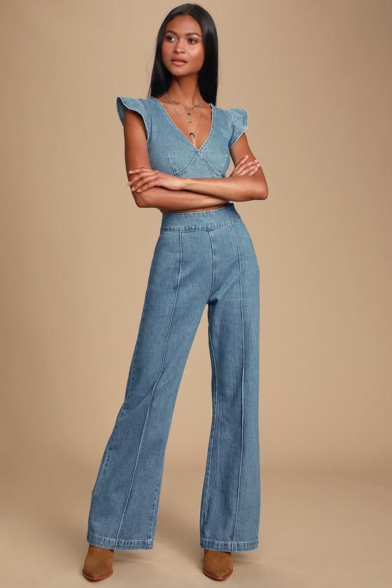70s Jumpsuit | Disco Jumpsuits – Sequin, Striped, Gold, White, Black Lyndzee Medium Wash High-Waisted Jeans - Lulus $67.00 AT vintagedancer.com