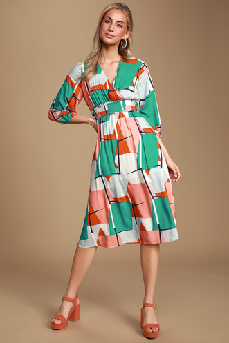 81551bd27bda Gallery Walk Teal Green and Coral Geometric Print Midi Dress