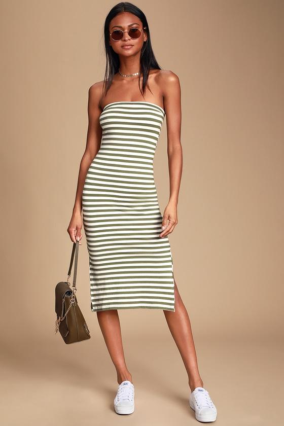 Raincheck Olive Green Striped Tube Dress