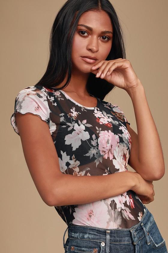 Moody Black Floral Print Mesh Tee - Funky Black Tshirt outfits