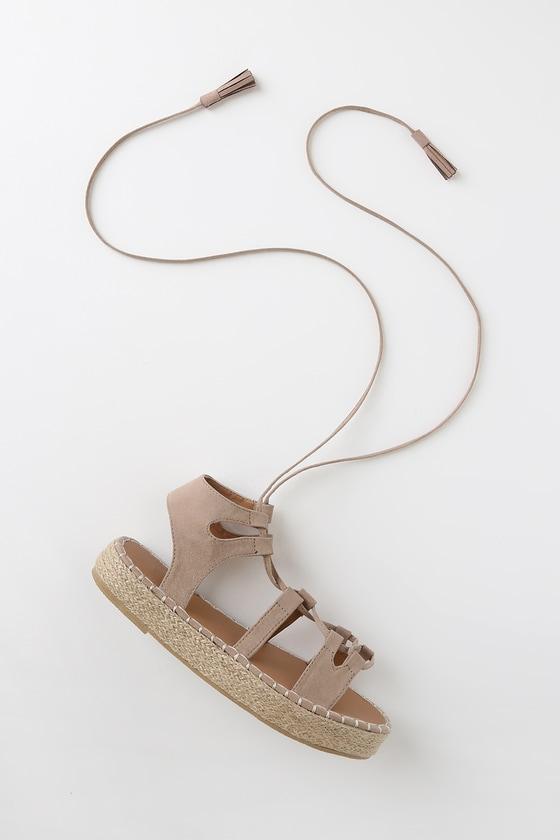 8c5b6a716 Cute Taupe Lace-Up Sandals - Espadrille Sandals - Suede Sandals