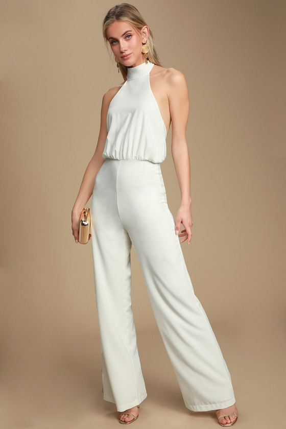 where to buy deft design release date: No Doubts White Halter Jumpsuit