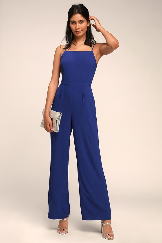 Emilie Royal Blue Sleeveless Wide Leg Jumpsuit by Lulus