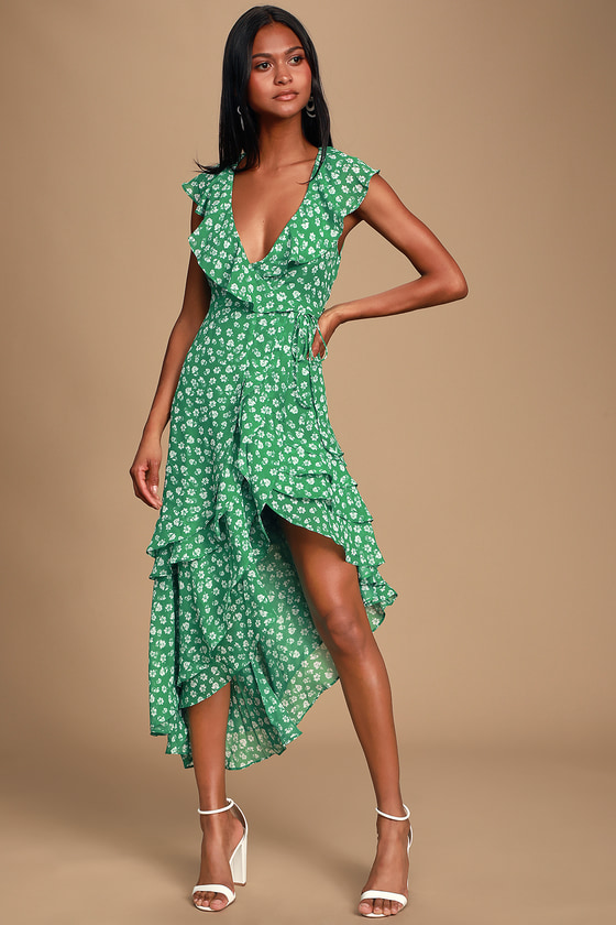 ec15e9198a7e Cute Green Floral Print Dress - Ruffled Dress - Wrap Midi Dress
